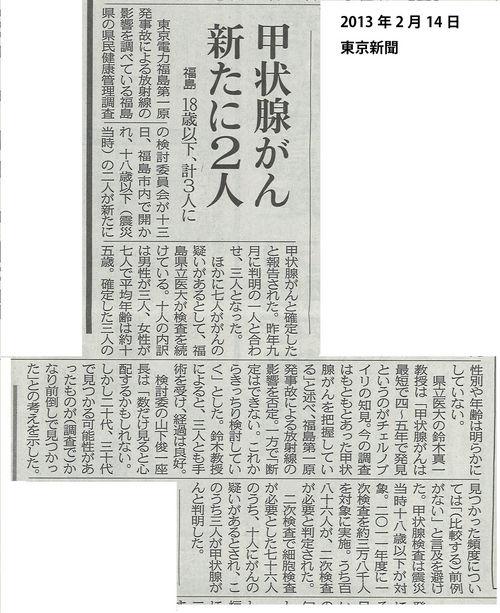 甲状腺がん 新たに2人 東京新聞