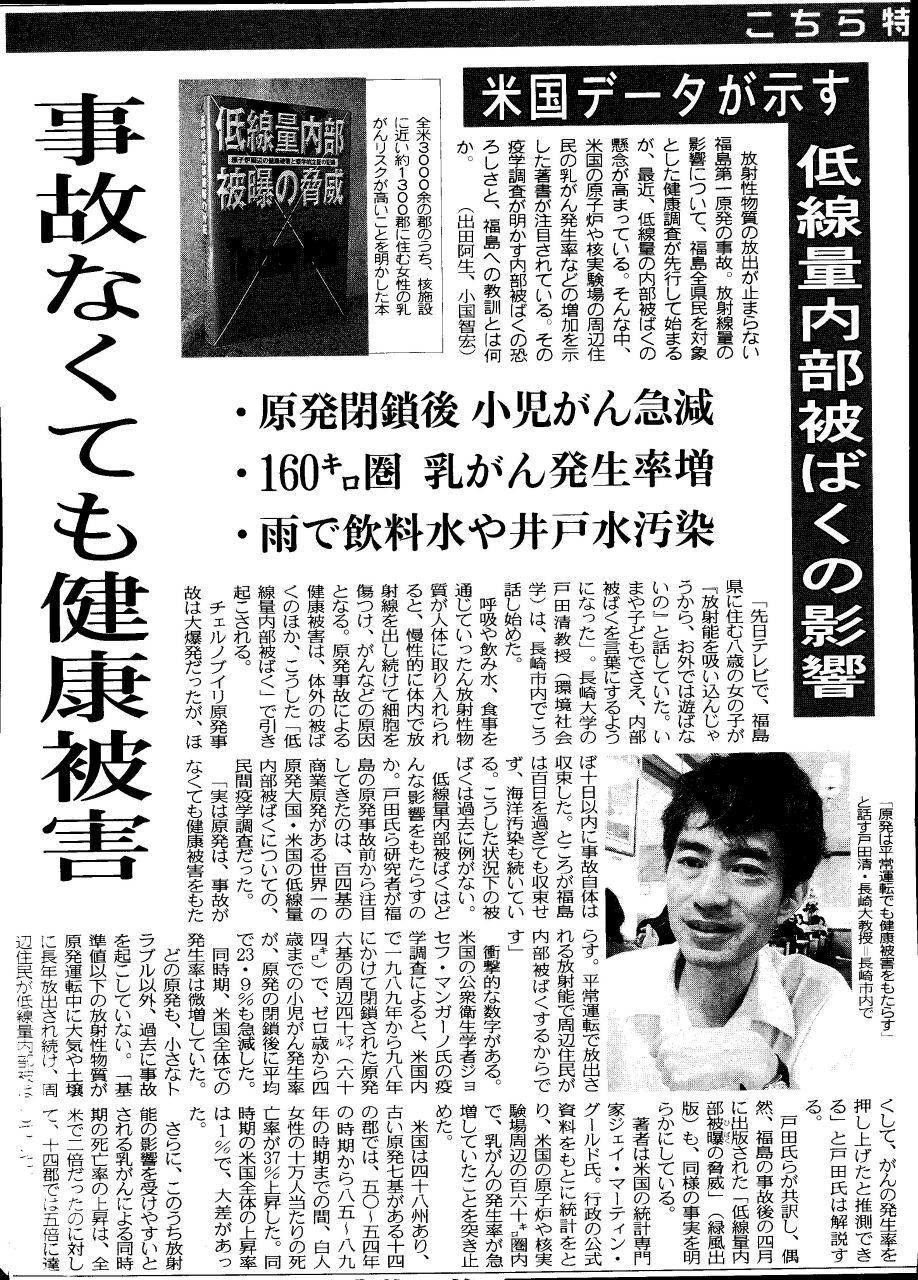 東京新聞:事故なくても健康被害 低線量内部被ばくの影響