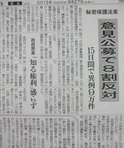 東京新聞:意見公募で8割反対