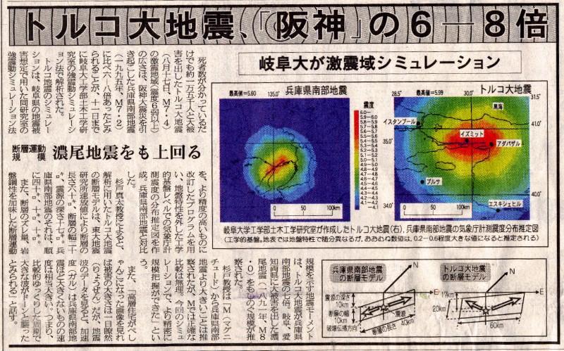 1999年トルコ北西部地震と1995年兵庫県南部地震の比較(岐阜新聞)