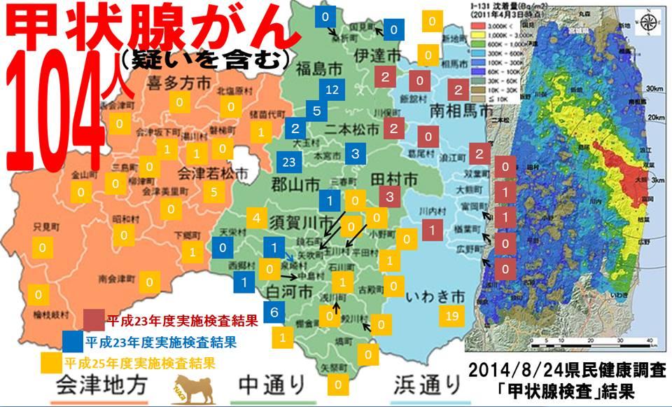 会津地方、中通り、浜通りの市町村別の甲状腺がん発症地図 104人