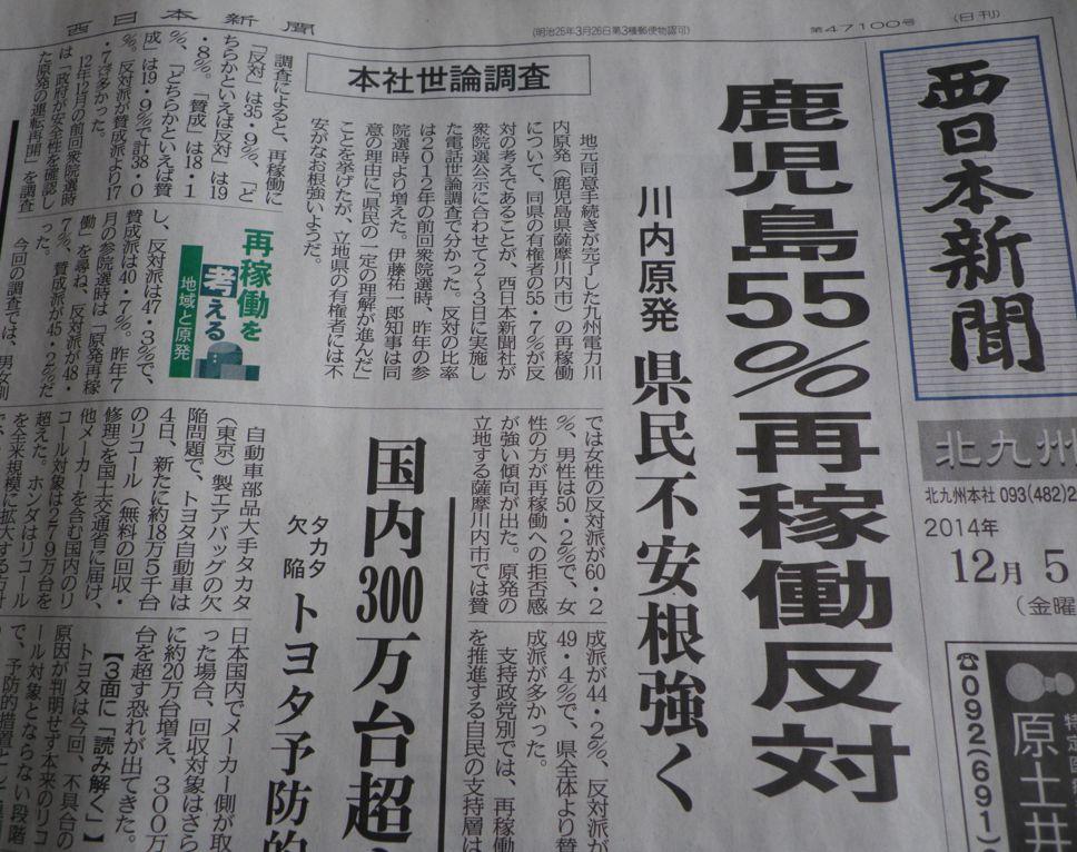 西日本新聞:鹿児島55%再稼働反対