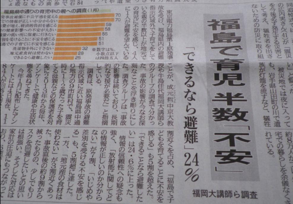 福島で育児 半数「不安」 できるなら避難 24%
