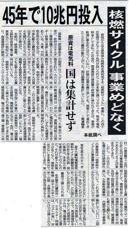 東京新聞:45年で10兆円投入 核燃サイクル事業めどなく(全文)